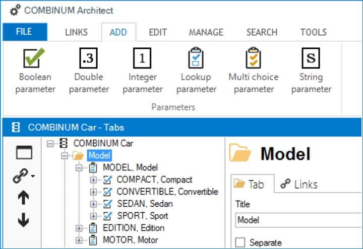 New interface for configurator modelling tool