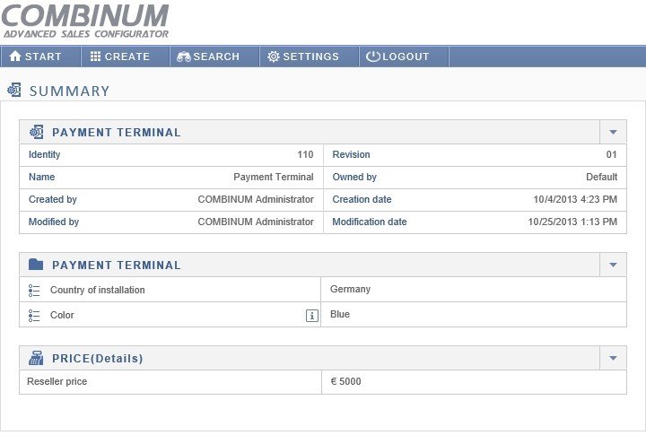 New user interface for the CPQ tool COMBINUM